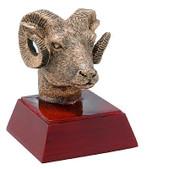 Ram Mascot Sculptured Trophy | Engraved Ram Award - 4 Inch Tall