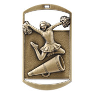 """Cheerleading Dog Tag Medal - Gold, Silver & Bronze   Engraved Spirit Medal   1.5"""" x 2.75"""""""