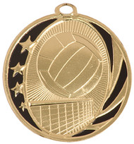 Volleyball MidNite Star Medal - Gold, Silver & Bronze | Engraved Spike & Dig Medallion | 2 Inch Wide Volleyball MidNite Star Medal - Gold