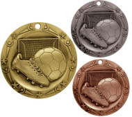 Soccer World Class Medal - Gold, Silver & Bronze | Engraved Futbol Medallion | 3 Inch Wide