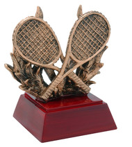 Tennis Sculptured Trophy | Engraved Tennis Award - 4 Inch Tall