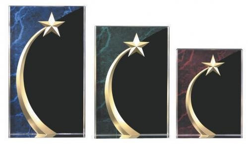 """Shooting Star Square Acrylic Trophy / Star Corporate Award - 6"""", 6.75"""" & 7.75"""""""