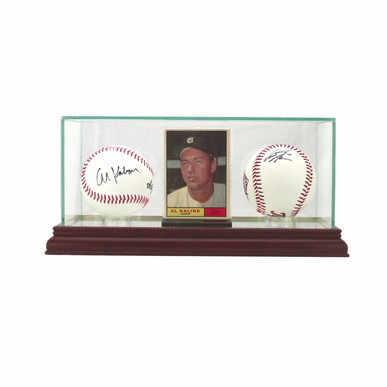 Engraved Double Baseball & Card Glass Display Case - Black Trim