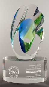 "Art Glass Trophy - Breakthrough | Artistic  Corporate Award - 9"" - Engraved"