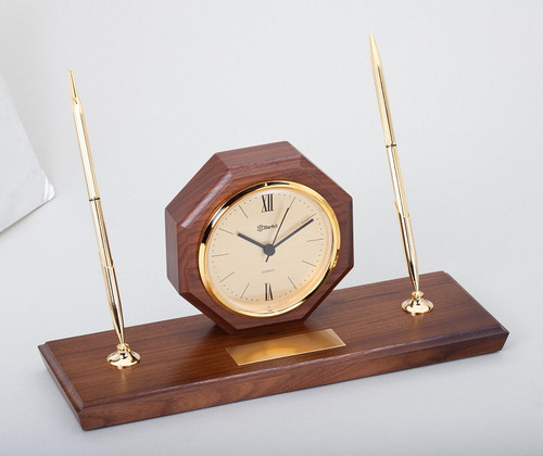 Desk Set – Genuine Walnut Base with Clock & Two Pens