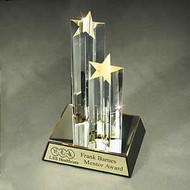 Double Star Tower Acrylic Trophy | Star Corporate Award - 9.5""