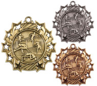 Track & Field Ten Star Medal - Gold, Silver or Bronze | Field Event 10 Star Medallion | 2.25 Inch Wide