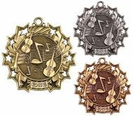 Orchestra Ten Star Medal - Gold, Silver or Bronze | Symphony 10 Star Medallion | 2.25 Inch Wide