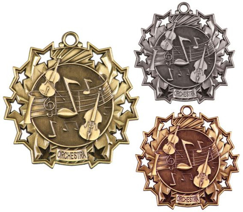 Orchestra Ten Star Medal - Gold, Silver or Bronze   Symphony 10 Star Medallion   2.25 Inch Wide