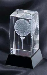 Golf Crystal 3-D Ball on Tee Award / Trophy