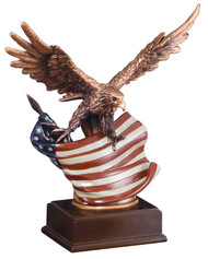 Eagle & Flag Resin Award | Engraved Eagle Trophy - 12 Inch Tall