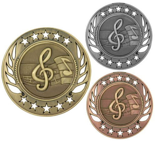 Music Galaxy Medal - Gold, Silver & Bronze | Engraved Band Medallion | 2.25 Inch Wide