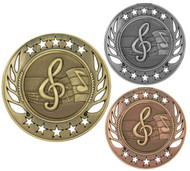 Music Galaxy Medal - Gold, Silver or Bronze | Engraved Band Medallion | 2.25 Inch Wide - CLEARANCE