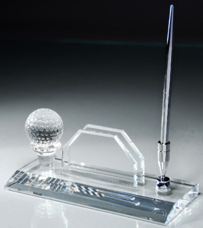 Crystal Golf Ball, Pen and Business Card Holder