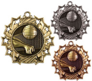 Volleyball Ten Star Medal - Gold, Silver & Bronze   Spike & Dig 10 Star Award   2.25 Inch Wide