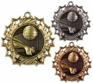 Volleyball Ten Star Medal - Gold, Silver or Bronze | Spike & Dig 10 Star Medallion | 2.25 Inch Wide