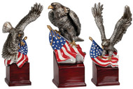 American Eagle Resin Trophy | Engraved Silver Eagle with American Flag Award - 3 styles