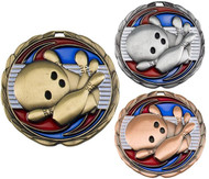 Bowling Color Epoxy Medal - Gold, Silver or Bronze | Engraved Bowler Medallion | 2.5 Inch Wide (CEM306)