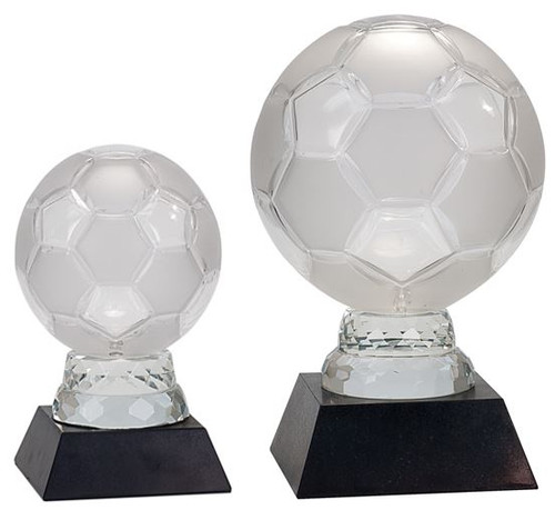 Soccer Ball Glass Trophy - Black Marble Base | Fútbol Award