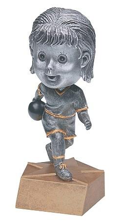 Pewter Bowling Bobblehead Trophy - Female