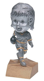 Pewter Bowling Bobblehead Trophy - Female