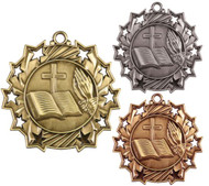Religion Ten Star Medal - Gold, Silver or Bronze | Faith 10 Star Medallion | 2.25 Inch Wide