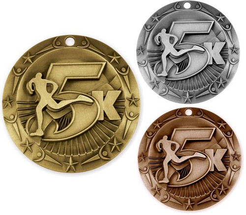 5K World Class Medal - Gold, Silver or Bronze | Engraved 5000 Meter Medallion | 3 Inch Wide