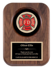 Fireman Insignia Walnut Plaque