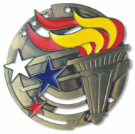 Victory Torch M3XL Medal | Engraved Flame of Victory Medallion | 2.75 Inch Wide