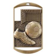 "Soccer Dog Tag Medal - Gold, Silver & Bronze | Engraved Futbol Medal | 1.5"" x 2.75"""