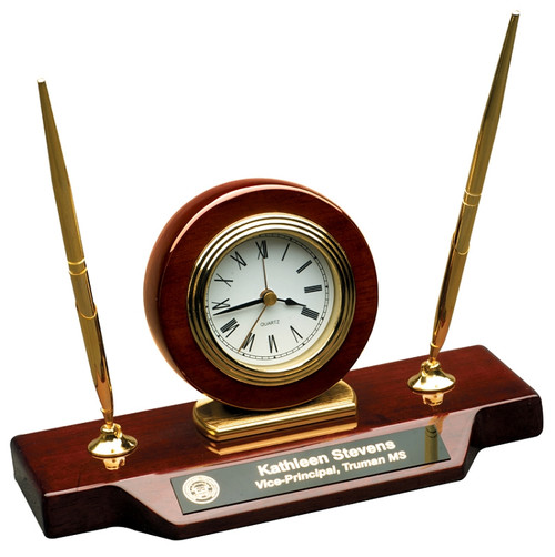 Desk Clock and Pen Set - Personalized