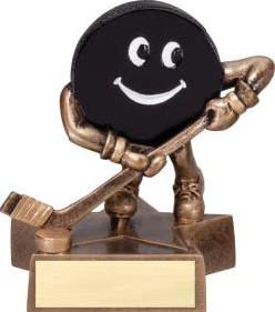 Hockey Lil' Buddy Trophy   Engraved Smiling Hockey Award - 4 Inch Tall
