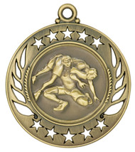 Wrestling Galaxy Medal - Gold | Engraved Wrestler Medallion | 2.25 Inch Wide - CLEARANCE Wrestling Galaxy Medal - Gold