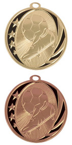 Soccer MidNite Star Medal - Gold or Bronze | Engraved Futbol Medallion | 2 Inch Wide - CLEARANCE
