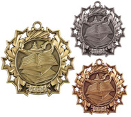 Reading Ten Star Medal - Gold, Silver or Bronze | Literacy 10 Star Medallion | 2.25 Inch Wide