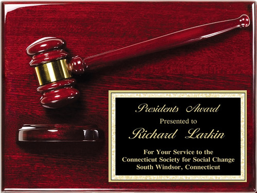 Rosewood Piano-Finish Gavel Plaque - Corner