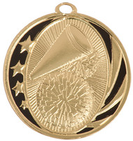 Cheerleading MidNite Star Medal - Gold, Silver & Bronze | Engraved Spirit Medallion | 2 Inch Wide Cheerleading MidNite Star Medal - Gold