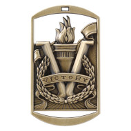 "Victory Dog Tag Medal - Gold, Silver or Bronze | Engraved Flame of Victory Medal | 1.5"" x 2.75"""