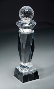 "Golf Prismatic Crystal Trophy with Trapezoid Base - 8.5"" - Clearance"