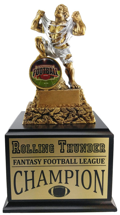 Fantasy Football Shield Monster Perpetual Trophy | Engraved FFL Beast Champion Award - 13 Inch Tall  - Cherry Base
