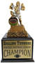 Fantasy Football Shield Monster Perpetual Trophy   Engraved FFL Beast Champion Award - 13 Inch Tall  - Cherry Base