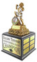 Fantasy Football Shield Monster Perpetual Trophy | FFL Beast Champion Award | 13 Inch Tall  - Cherry Base