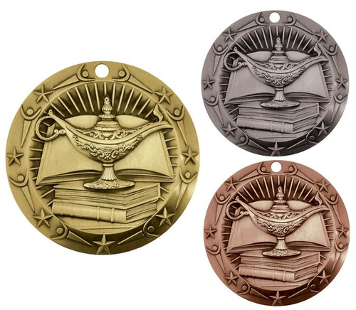Academic World Class Medal - Gold, Silver & Bronze | Engraved Lamp of Knowledge Medallion | 3 Inch Wide
