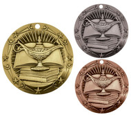 Academic World Class Medal - Gold, Silver or Bronze | Engraved Lamp of Knowledge Medallion | 3 Inch Wide