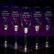 Champagne Twisted Stem Flutes - Personalized