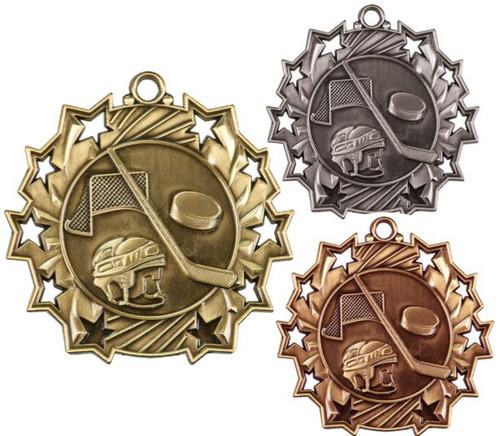Hockey Ten Star Medal - Gold, Silver or Bronze | Ice Hockey 10 Star Medallion | 2.25 Inch Wide