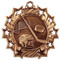 Hockey Ten Star Medal - Gold, Silver or Bronze | Ice Hockey 10 Star Medallion | 2.25 Inch Wide Hockey Ten Star Medal - Bronze