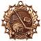 Hockey Ten Star Medal - Gold, Silver or Bronze | Ice Hockey 10 Star Medallion | 2.25 Inch Wide Hockey Ten Star Medal - Bronze