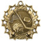 Hockey Ten Star Medal - Gold, Silver or Bronze | Ice Hockey 10 Star Medallion | 2.25 Inch Wide Hockey Ten Star Medal - Gold