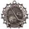 Hockey Ten Star Medal - Gold, Silver or Bronze | Ice Hockey 10 Star Medallion | 2.25 Inch Wide Hockey Ten Star Medal - Silver